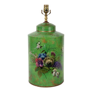 Chinese Export Hand-Painted English Floral Round Tea Caddy Lamp For Sale