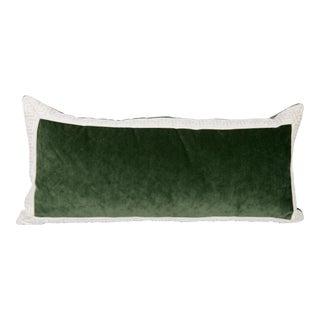 Emerald Velvet Greek Key Lumbar Pillow For Sale