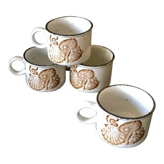 Vintage Pottery Coffee Tea Mugs Cups With a Brown Seashell Shell Motif Design, Set of 4, Made in England For Sale