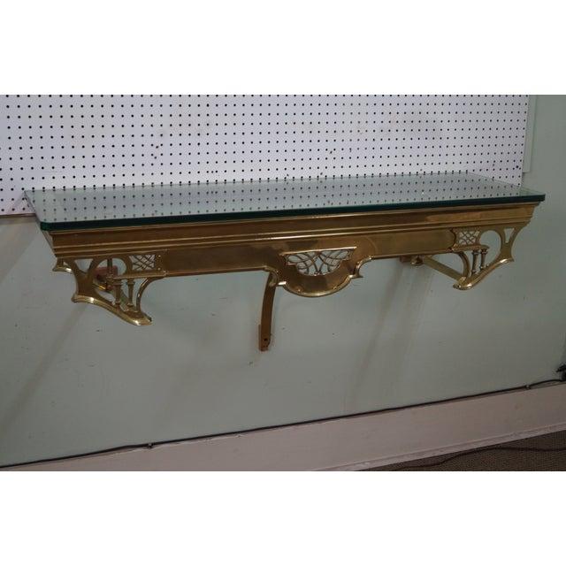 Vintage Brass & Glass Wall Shelf - Image 7 of 10