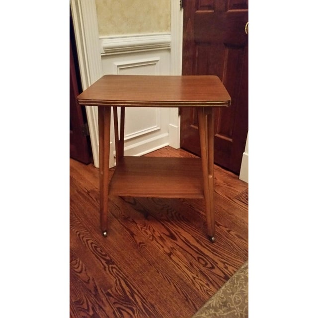 Mid-Century Modern Rolling Side Table - Image 2 of 5