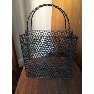 Vintage Iron Mesh Shopping Tote Magazine Rack With Twisted Double Handles Preview