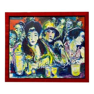Vintage Fauvist Paris Cafe Bar Figures Oil Painting by Ed Cesena For Sale