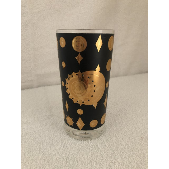 Metal Fred Press Atomic Starburst/Eclipse Pattern Highball Glass For Sale - Image 7 of 7