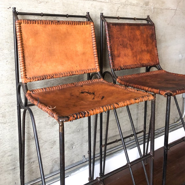 1970s Vintage Iron & Leather Brutalist Bar Stools by Ilana Goor (2 Available) For Sale In Los Angeles - Image 6 of 7