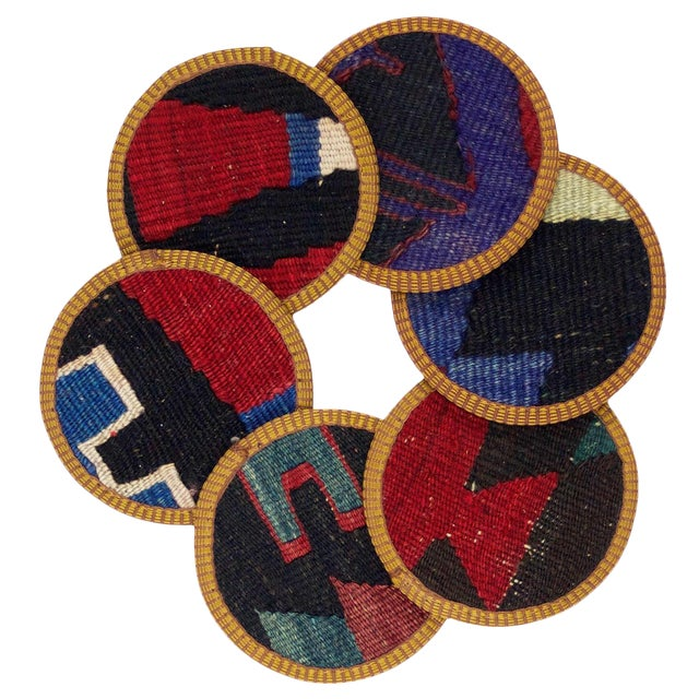 Rug & Relic Pinar Kilim Coasters - Set of 6 For Sale
