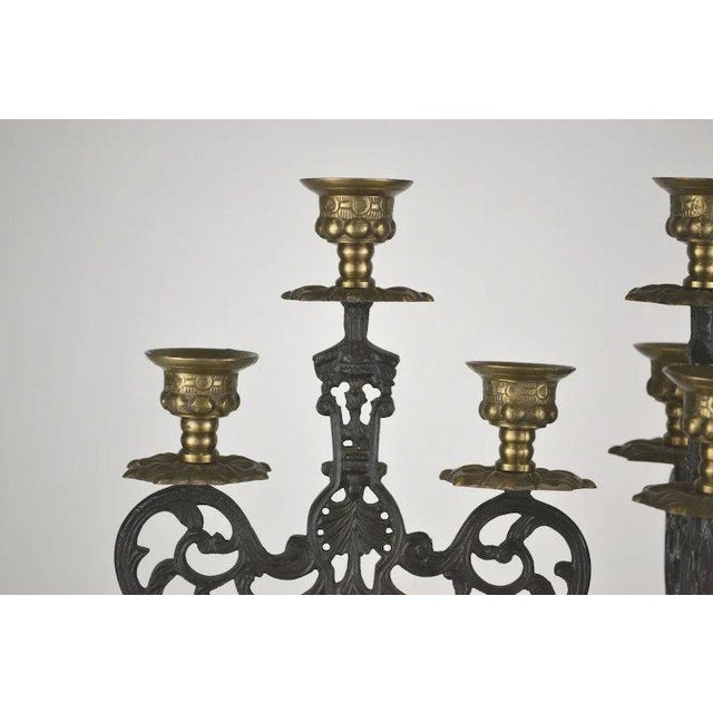 Renaissance Blackened Brass Candlesticks - A Pair For Sale - Image 3 of 8