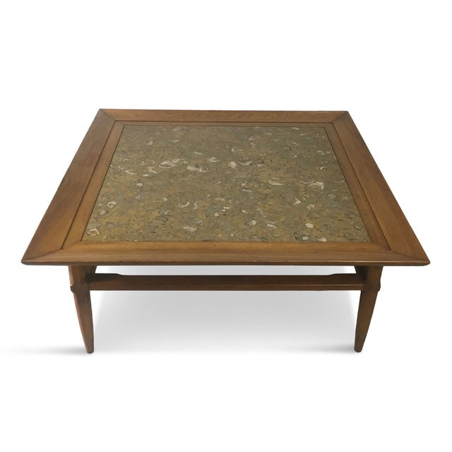 "Tomlinson Marble and Pecan Mid-Century ""Sophisticate"" Coffee Table For Sale - Image 10 of 10"