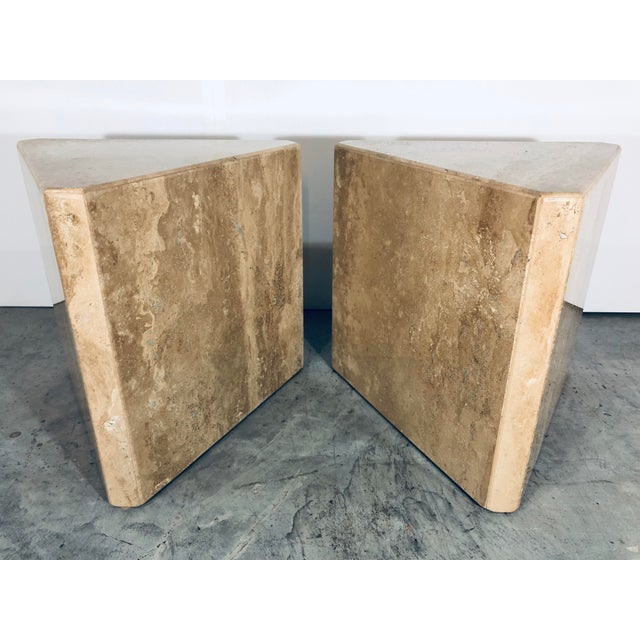 1970s Mid-Century Modern Pair of Italian Travertine Pedestal or Side Tables For Sale - Image 10 of 10