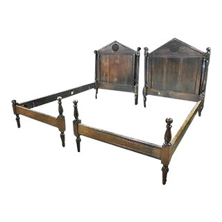 Antique French Directoire Style Solid Walnut Twin Single Beds, Circa 1890s, Pair For Sale