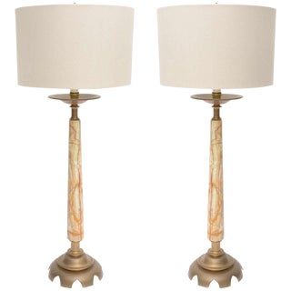 Early 20th C. Onyx and Bronze Lamps - a Pair For Sale