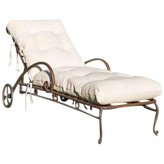 Vintage French Style Wrought Iron Chaise Longue With Cushion For Sale