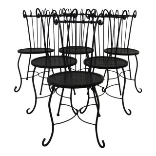 Vintage Iron Patio Chairs Set of 6 For Sale