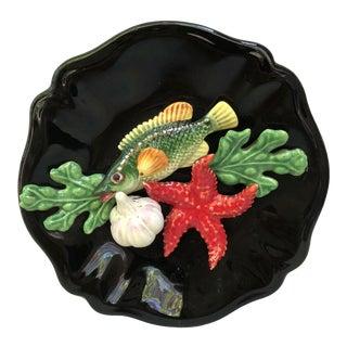 Majolica Fish Sealife Platter Vallauris, Circa 1950 For Sale