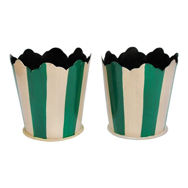 Green Striped Tole Planters - A Pair - Image 1 of 6
