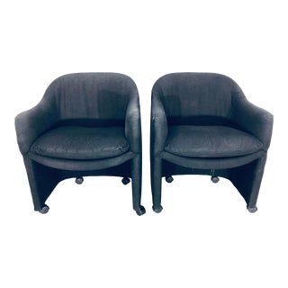 Thayer Coggin Black Denim Dining Arm Chairs- a Pair For Sale