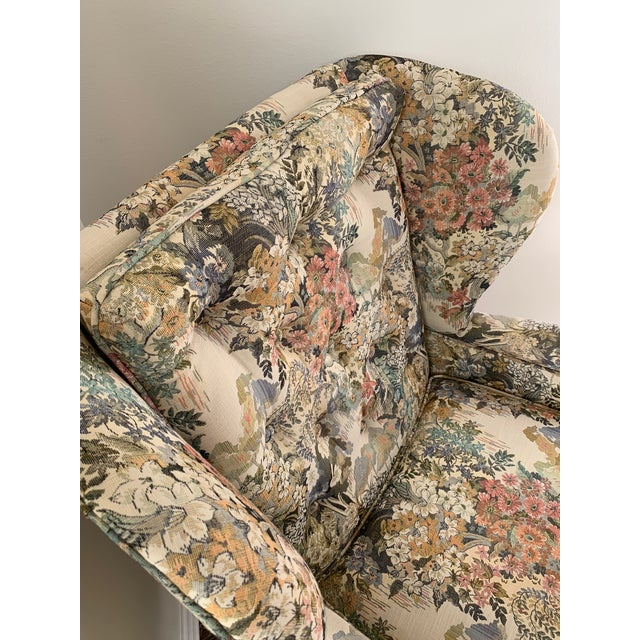 Early 21st Century Custom Floral Wingback Chair For Sale - Image 5 of 12
