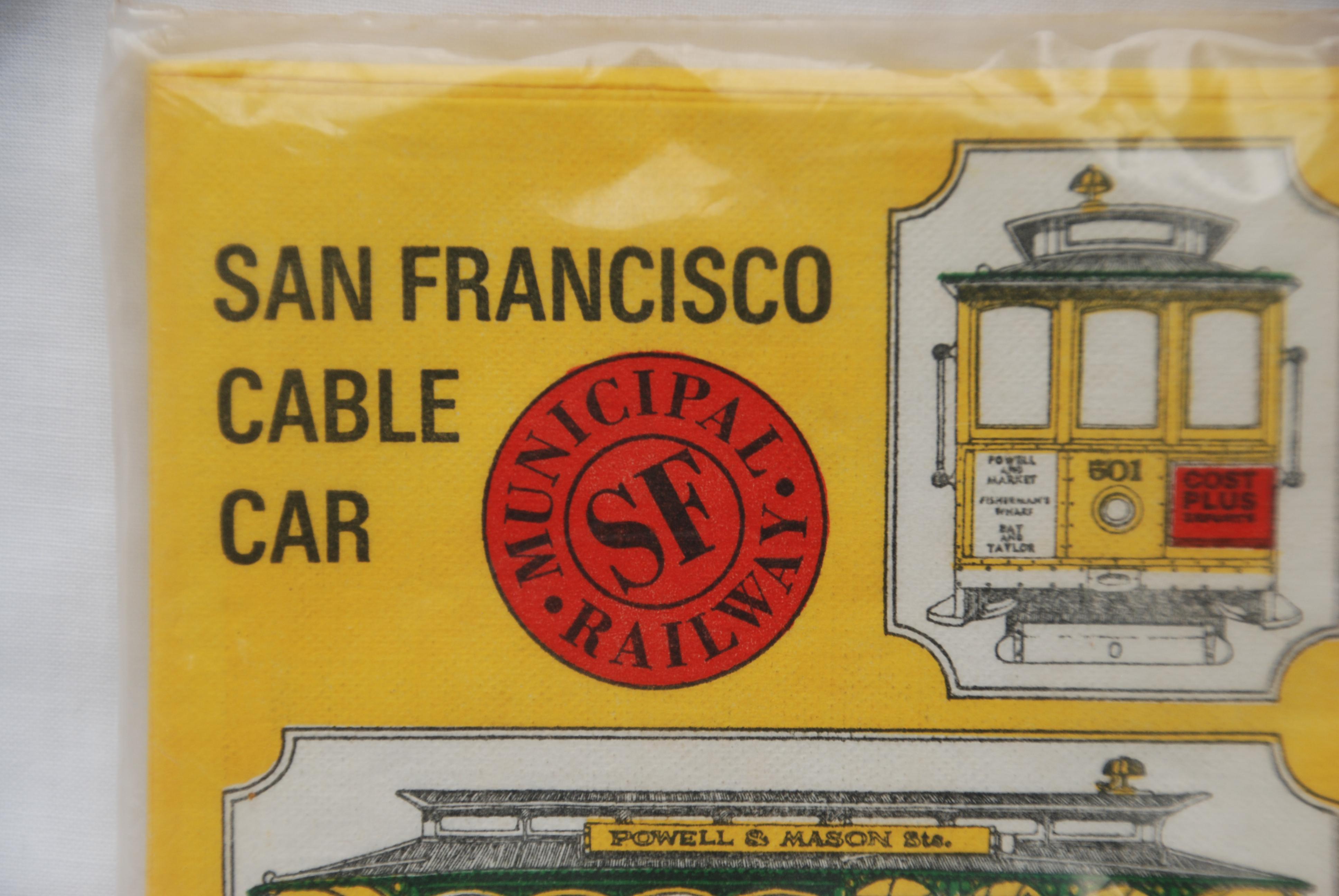 Vintage San Francisco Cable Car Paper Napkins   Set Of 24   Image 4 Of 6