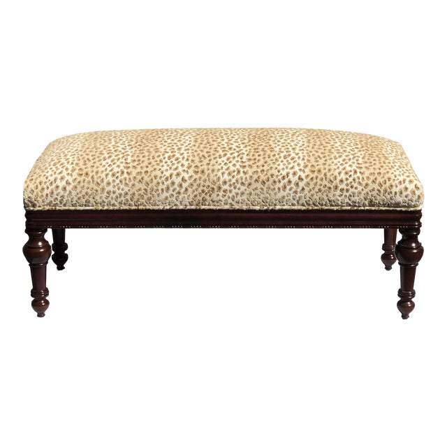 Turned Leg Mahogany Louis XIII Style Bench Brand New Upholstery For Sale
