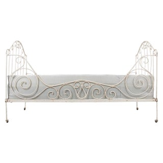 French 19th Century Crème-Painted Iron Campaign Daybed For Sale