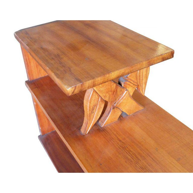 1950s Mid-Century Hand-Carved Bamboo Pattern Mahogany Side Table For Sale - Image 5 of 7