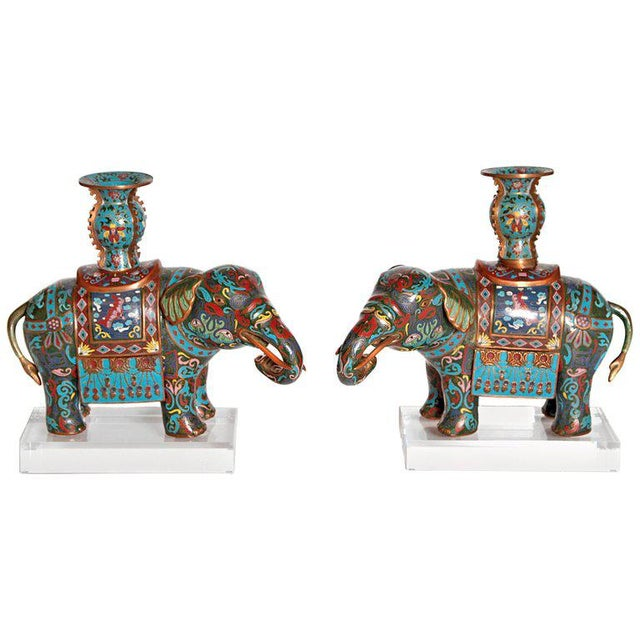 Pair of Chinese Cloisonne Elephants For Sale - Image 13 of 13