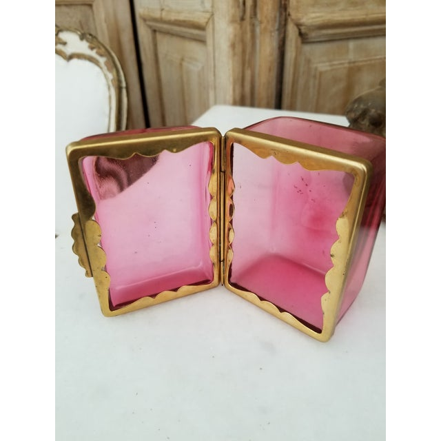 Mid 19th Century Antique Cranberry Glass Box For Sale - Image 5 of 7
