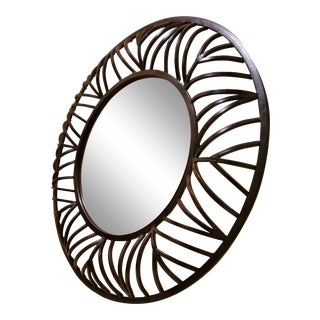 Large Rod Iron Round Beveled Mirror For Sale
