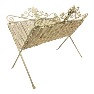 Vintage Wicker Magazine Rack Stand For Sale