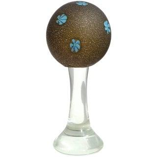 Mid 20th Century Fratelli Toso Murano Italian Blue Millefiori Satin Glass Art Glass Paperweight For Sale