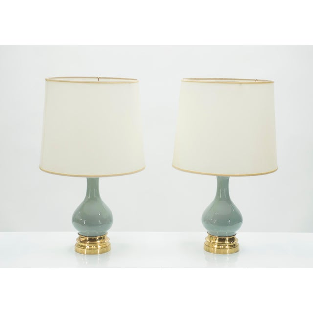 Mid-Century Pair of French Light Blue Ceramic and Brass Lamps 1960s For Sale - Image 9 of 9