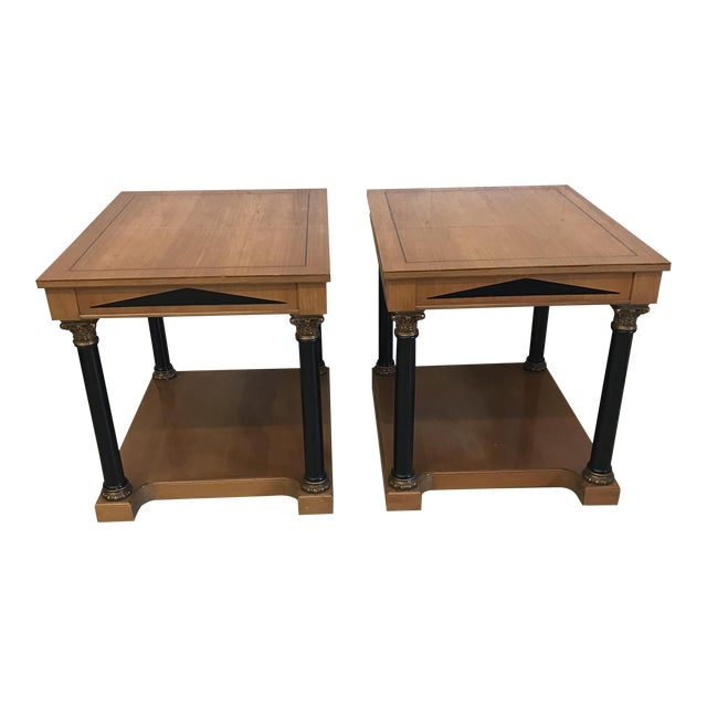 Neoclassical Style Wood End Tables - A Pair For Sale