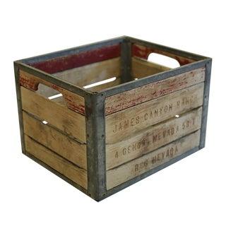 Vintage Wood and Metal Milk Crate C. 1940-1950s