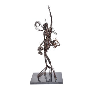 1989 John Jagger Brutalist Metal Surrealist Sculpture Abstract Mermaid W Fish For Sale