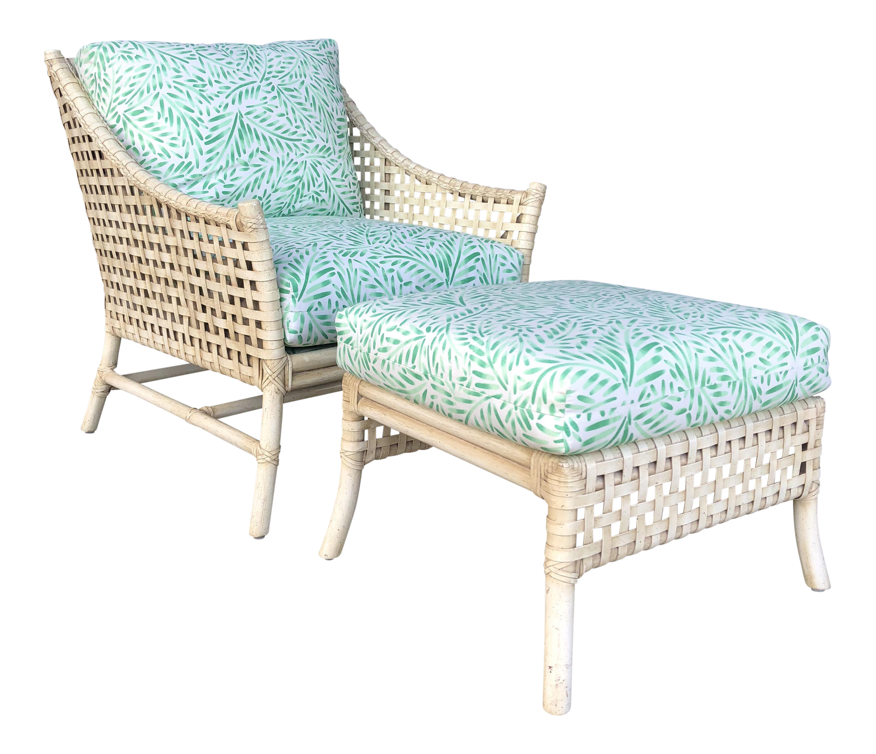 Vintage Woven Leather U0026 Rattan Chair And Ottoman   A Pair