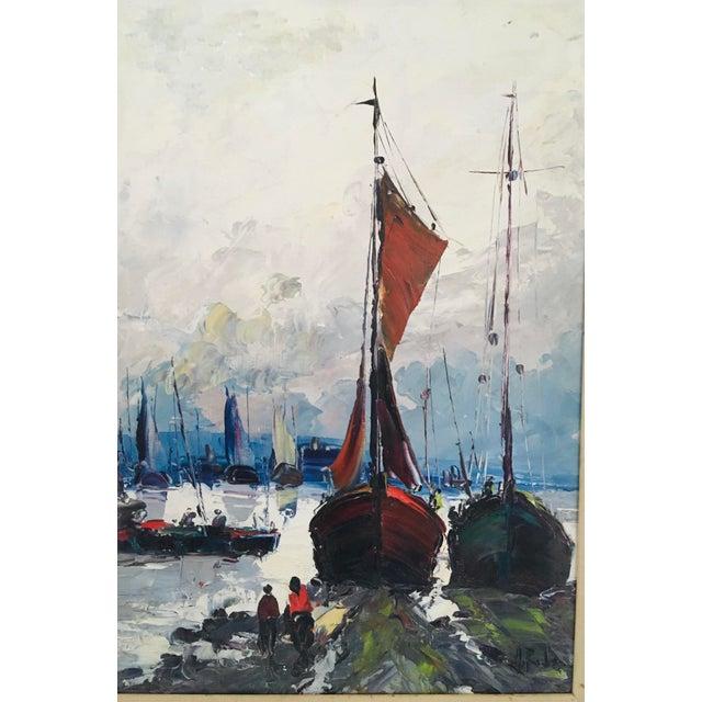 Mid Century Impressionist Oil on Canvas Harbor Scene For Sale - Image 4 of 12