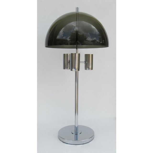 1960's Mid-Century Modernist Space Aged Smoked Lucite and Chrome Mushroom Table Lamp For Sale - Image 13 of 13
