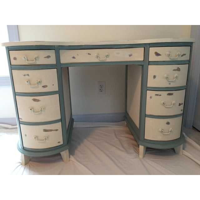 We love this fabulous and interesting vintage lady's writing desk its distressed cream and french blue painted finish -...
