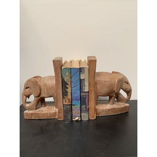 Hand Carved African Elephant Bookends - a Pair Preview
