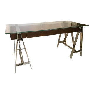 Thomasville Chrome Sawhorse Desk For Sale