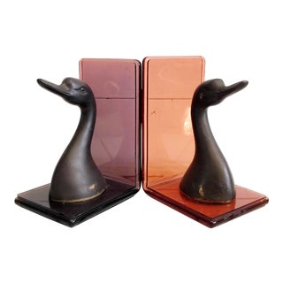 Lucite and Brass Duck Bookends - a Pair For Sale