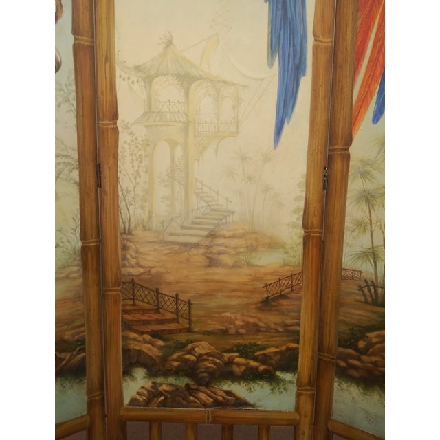 Sky Blue Chinoiserie Picturesque Tropical Double Sided Hand Painted Room Divider For Sale - Image 8 of 13