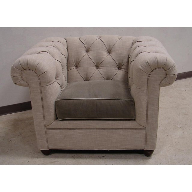 Chesterfield Style Tufted Linen Arm Accent Chair - Image 3 of 4