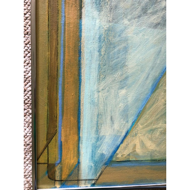 Canvas Vintage 80s Geometric Abstract Oil Painting Signed Mariko Nutt For Sale - Image 7 of 9