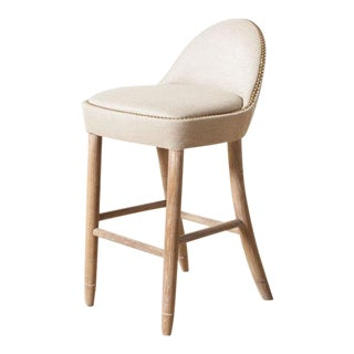 Napa Sunbrella Taupe Upholstered Counter Stool For Sale