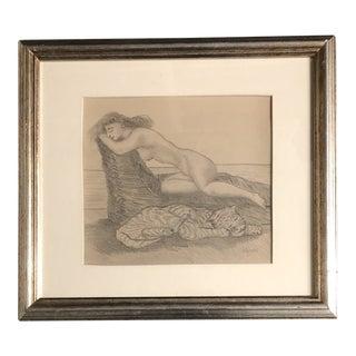 Vintage Original Vintage Folk Art Female Nude With Cat Drawling For Sale