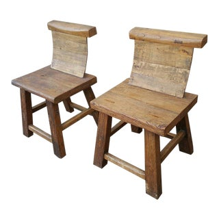 Vintage Ethiopian Hard Wood Chairs - a Pair For Sale