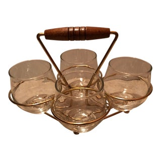 Art Deco Cordial Glass With Gold Caddy - Set of 4