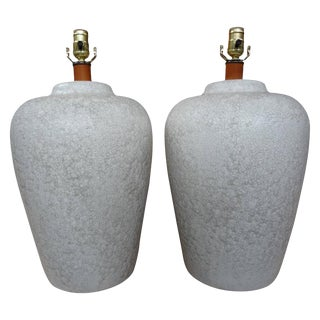 1960's Hollywood Regency Raised Crackle Glaze Ceramic Lamps - a Pair For Sale