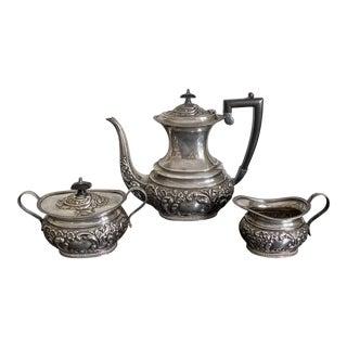 Vintage 1900s English Sheffield Coffee/Tea Set - 3 Piece Set For Sale